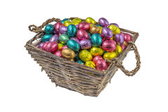 Colorful chocolate easter eggs in a basket Stock Photo