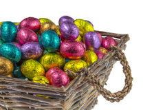 Colorful chocolate easter eggs in a basket Royalty Free Stock Photos