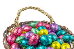 Colorful chocolate easter eggs in a basket Royalty Free Stock Photography