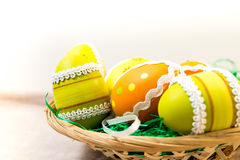 Colorful chocolate easter eggs Stock Photos