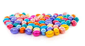 Colorful chocolate easter eggs Royalty Free Stock Photography