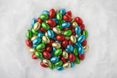 Colorful chocolate eggs Stock Image