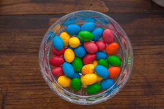 Colorful chocolate eggs stock photography
