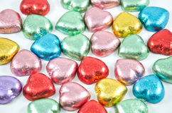 Colorful chocolate hearts Royalty Free Stock Photography