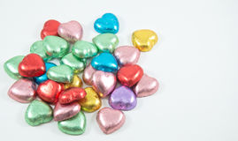 Colorful chocolate hearts candies, Stock Photo