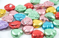Colorful chocolate hearts candies,isolated Royalty Free Stock Photo