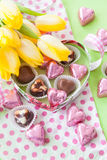 Colorful Chocolate hearts Royalty Free Stock Images