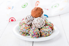 Colorful chocolate truffles. Photo of colorful chocolate truffles royalty free stock photo