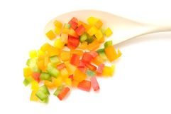 Colorful chopped bell peppers Stock Images