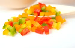 Colorful chopped bell peppers Royalty Free Stock Photos