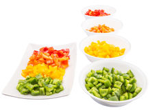 Colorful Chopped Capsicums In Bowl And Plate II Royalty Free Stock Photos