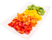 Colorful Chopped Capsicums In Plate III Stock Photo