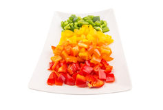 Colorful Chopped Capsicums In Plate IV Stock Photography