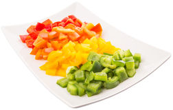 Colorful Chopped Capsicums In Plate VII Royalty Free Stock Images