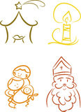 Colorful Christian Christmas Symbols Stock Photos