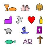 Colorful christian symbols with outline. Thirteen simple colorful christian abstract symbols with outline. They can be used as icons or as an Background Royalty Free Stock Image