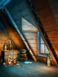 Colorful Christmas attic Royalty Free Stock Images