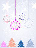 Colorful christmas background. Vector illustration of christmas baubles and trees Stock Photography
