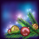 Colorful Christmas background. Colorful New Year and Christmas background with fir tree branch and christmas balls. Vector illustration vector illustration