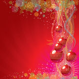 Colorful Christmas background. Wlth glass balls and glitters Stock Images