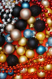 Colorful Christmas Background. With many Christmas Baubles Stock Photo