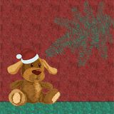 Colorful christmas background with plush dog and christmas Royalty Free Stock Photography