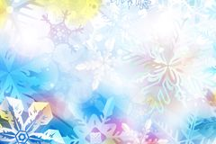 Colorful Christmas background with snowflakes and stars. Beautiful blue and pink Christmas background - snowflakes, stars,lights stock illustration