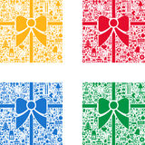 Colorful Christmas backgrounds. Set of Colorful Christmas ribbon background with signs and symbols in background Royalty Free Stock Images