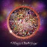 Colorful Christmas ball on blue background Royalty Free Stock Photography