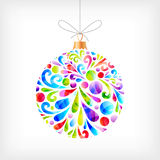 Colorful Christmas ball. Hanging on the string stock illustration