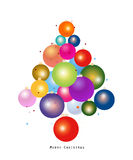 Colorful Christmas ball new year greeting card. New year tree made of christmas ball vector illustration Stock Photography
