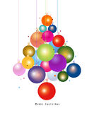 Colorful Christmas ball new year greeting card. New year tree made of christmas ball vector illustration stock illustration