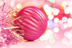 Colorful christmas ball on new year's lights bokeh Stock Photography