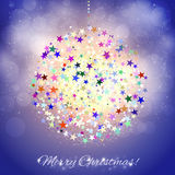 Colorful Christmas ball on shining blue background Royalty Free Stock Image