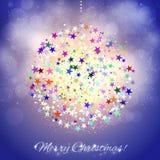 Colorful Christmas ball on shining blue background Royalty Free Stock Image