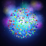 Colorful Christmas ball on shining blue background Stock Photo