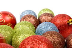 Colorful christmas balls. Isolated on a white background stock photography