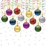 Colorful christmas balls. Set of Christmas balls on white background, illustration Stock Images