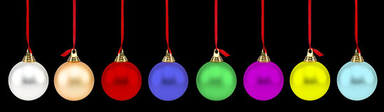 Colorful Christmas Balls. Isolated on black Royalty Free Stock Images