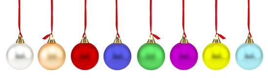 Colorful Christmas Balls. Isolated on white Royalty Free Stock Images