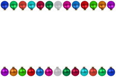 Colorful Christmas balls baubles frame isolated. On a white background Royalty Free Stock Photography