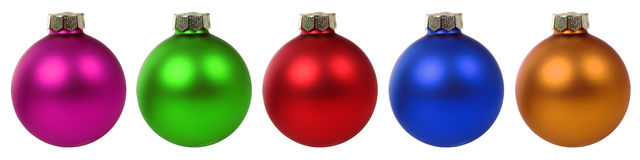 Colorful Christmas balls baubles in a row isolated Stock Photography