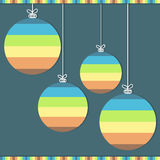 Colorful Christmas Balls. Blue Background Royalty Free Stock Photography