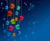 Colorful Christmas balls blue snowfall. Group of colorful Christmas glass decoration balls on blue snowfall background stock illustration