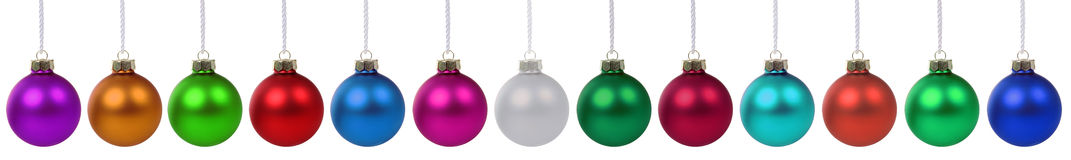 Colorful Christmas balls border isolated Stock Photo