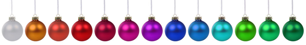 Colorful Christmas balls border in a row isolated Royalty Free Stock Photography
