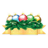 Colorful Christmas balls and Christmas tree. On white background Royalty Free Stock Image