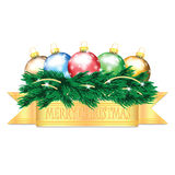Colorful Christmas balls and Christmas tree. On white background Royalty Free Stock Images