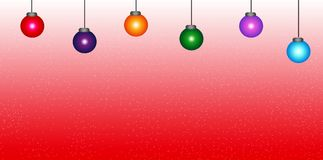Colorful Christmas Balls. With Snow Backround Stock Photos