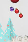 Colorful Christmas balls decorations and christmas tree Stock Photography